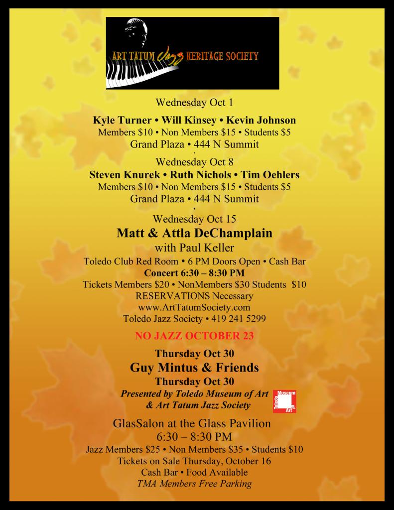 October Jazz Schedule